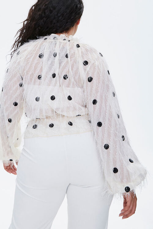 Plus Size Feathered Polka Dot Top, image 3