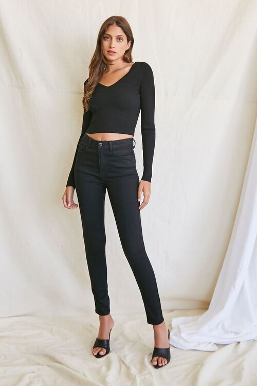 BLACK Ribbed Cropped Sweater, image 4
