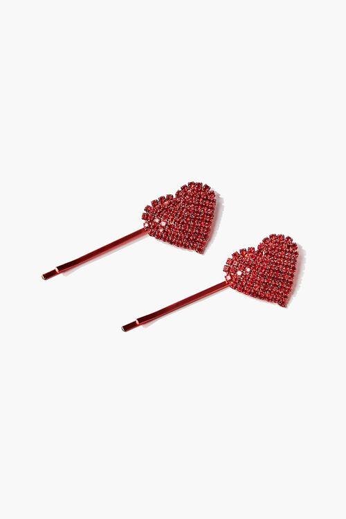 Rhinestone Heart Bobby Pin Set, image 1