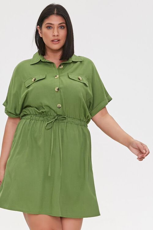 Plus Size Tie-Waist Shirt Dress, image 1
