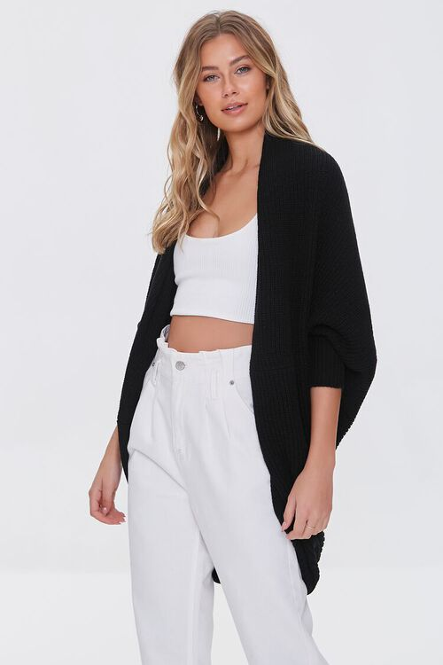 BLACK Ribbed Open-Front Cardigan Sweater, image 1