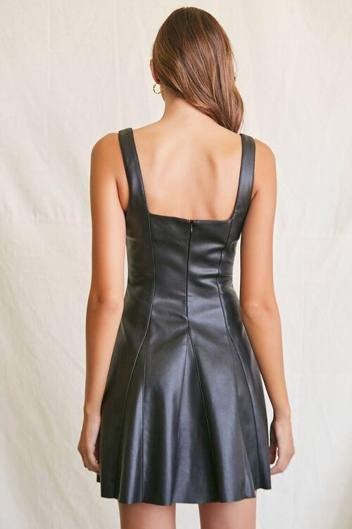 BLACK Faux Leather Mini Dress, image 3
