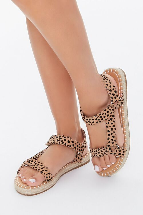 BLACK/BROWN Cheetah Print Espadrille Flatform Sandals, image 1