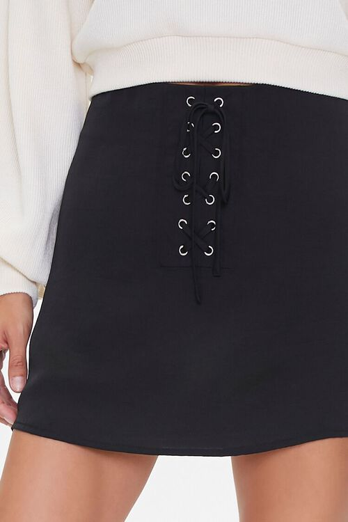 Lace-Up Satin Mini Skirt, image 5