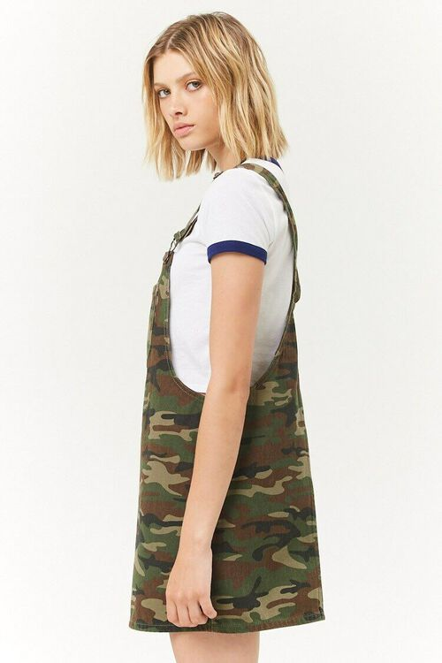 Camo Denim Overall Mini Dress, image 2