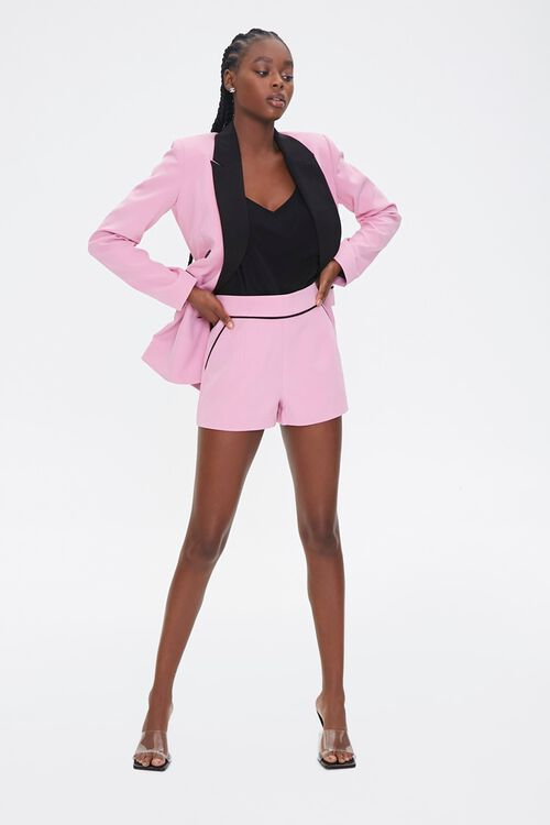 PINK/BLACK Piped-Trim Shorts, image 4