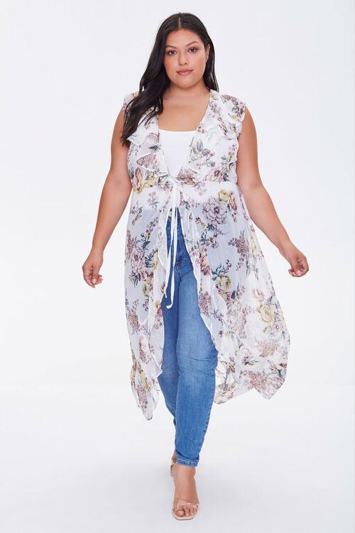 Plus Size Sheer Ruffled Floral Kimono, image 1
