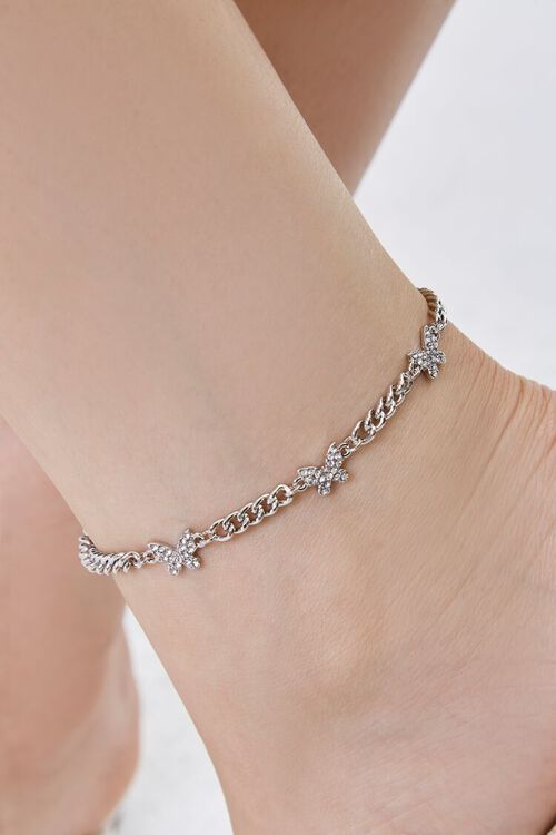 SILVER/CLEAR Rhinestone Butterfly Charm Anklet, image 2