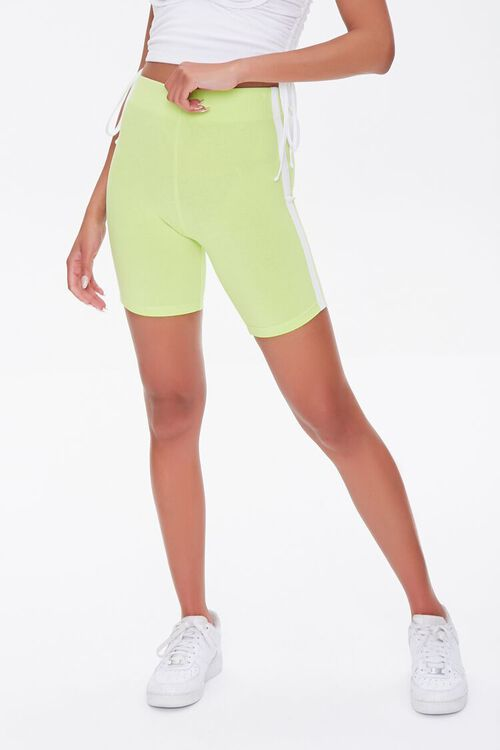 LIME/WHITE Side-Striped Biker Shorts, image 2