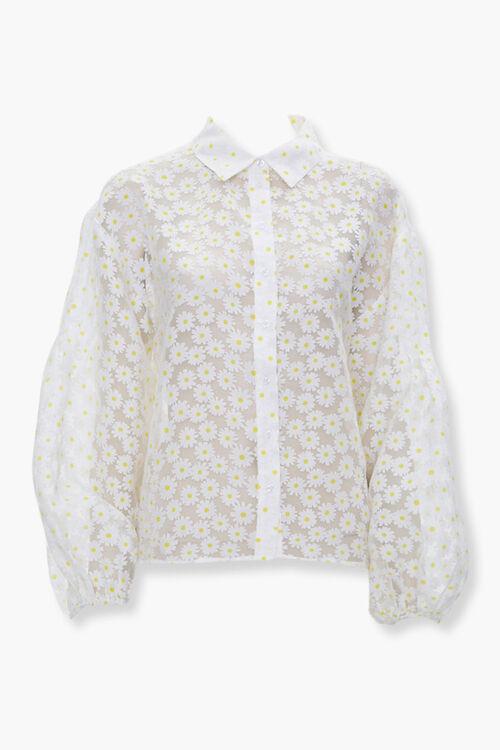 Sheer Daisy Print Shirt, image 1