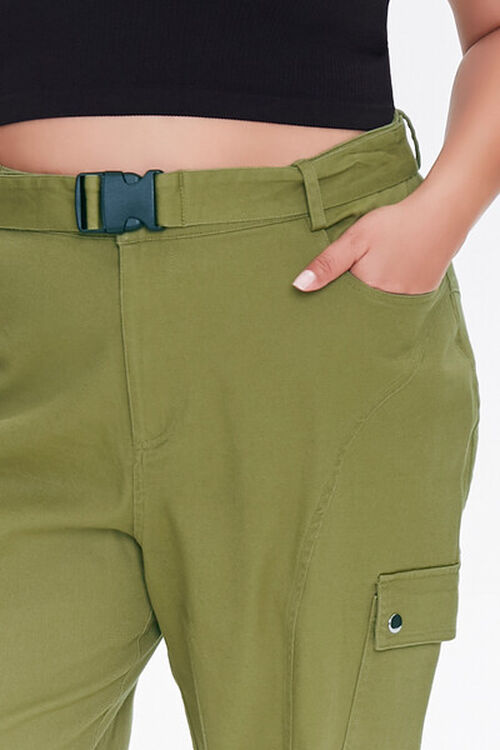 OLIVE Plus Size Belted Cargo Joggers, image 5