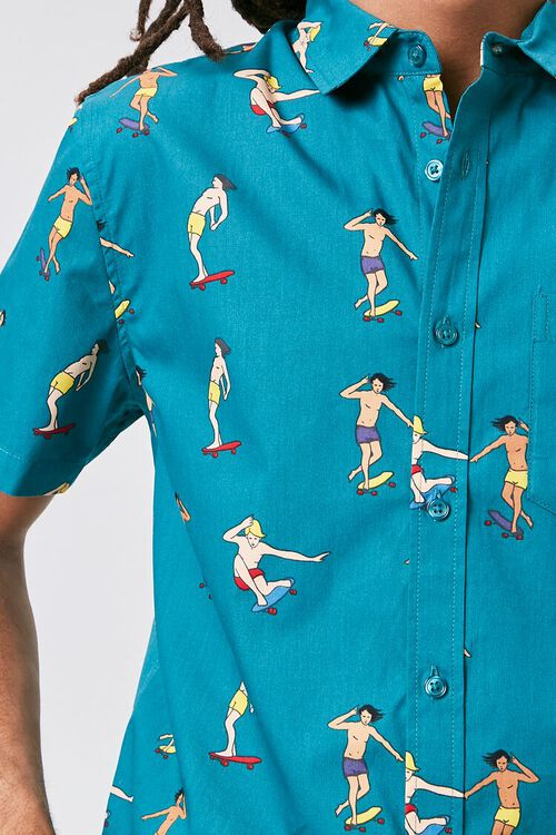 Skateboard Print Fitted Shirt, image 5