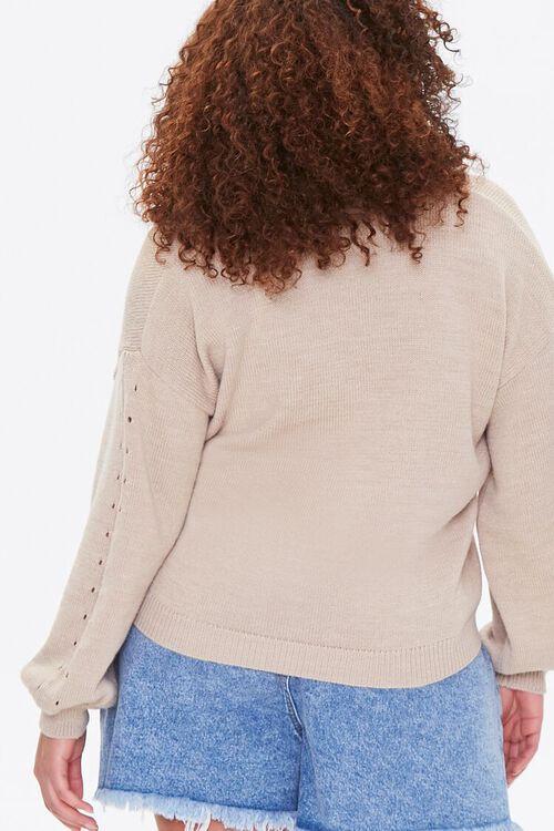 Plus Size Pointelle Cardigan Sweater, image 3