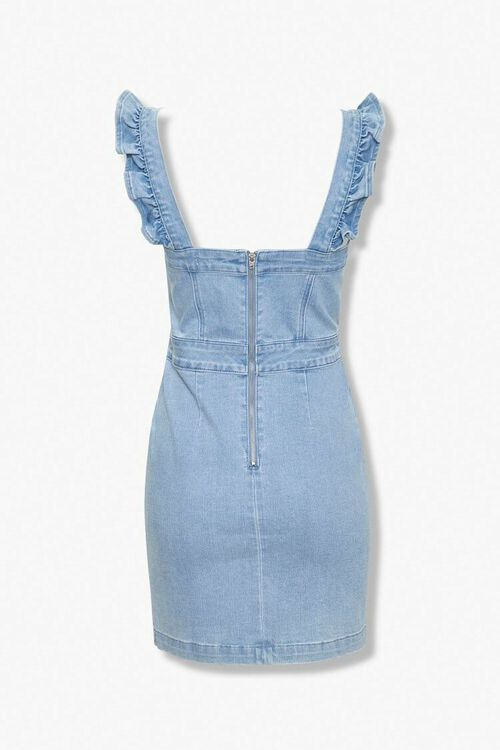 LIGHT DENIM Ruffled Denim Sheath Dress, image 2