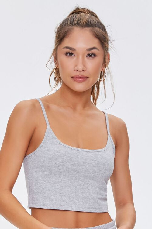 Active Heathered Cropped Cami, image 1