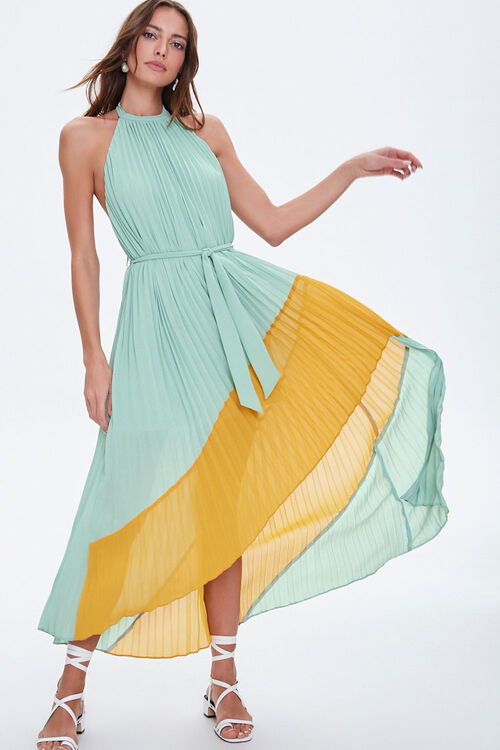 Pleated High-Low Halter Dress, image 1
