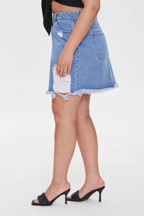 Plus Size Frayed Denim Mini Skirt, image 3