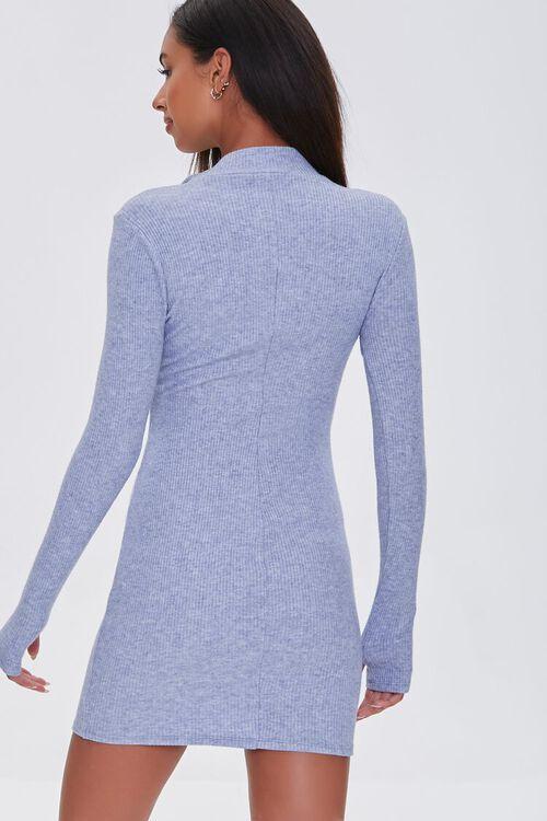 DUSTY BLUE Heathered Ribbed Knit Mini Dress, image 3