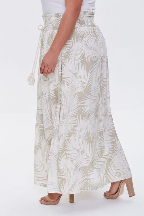 Plus Size Tropical Leaf M-Slit Skirt, image 2