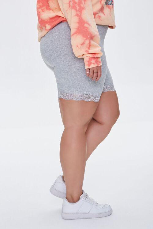HEATHER GREY Plus Size Lace-Trim Biker Shorts, image 3