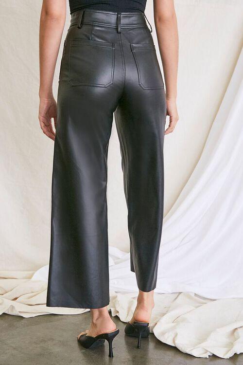 BLACK Faux Leather Wide-Leg Pants, image 4