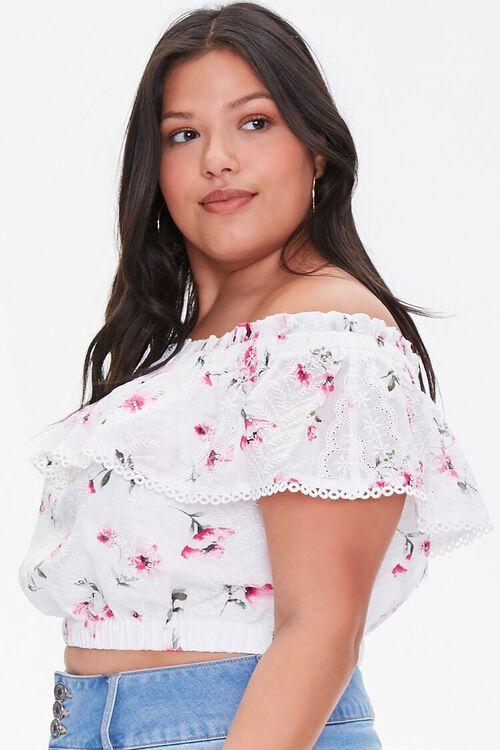 Plus Size Floral Lace Flounce Top, image 2