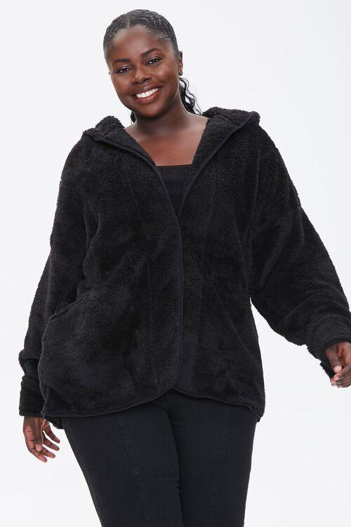 Plus Size Hooded Faux Fur Coat, image 1
