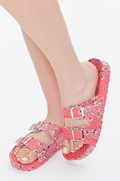 Bandana Print Buckled Flatform Sandals, image 1