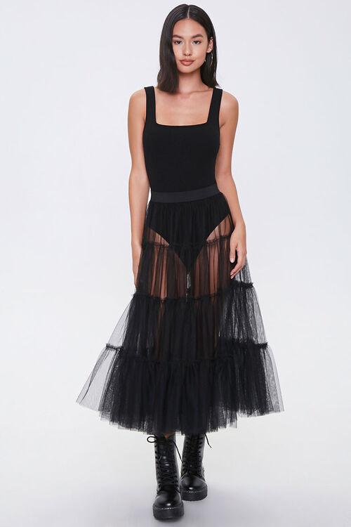 Sheer Tiered Midi Skirt, image 5