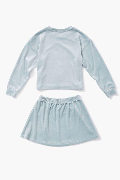 BLUE Girls Velvet Tee & Skirt Set (Kids), image 2