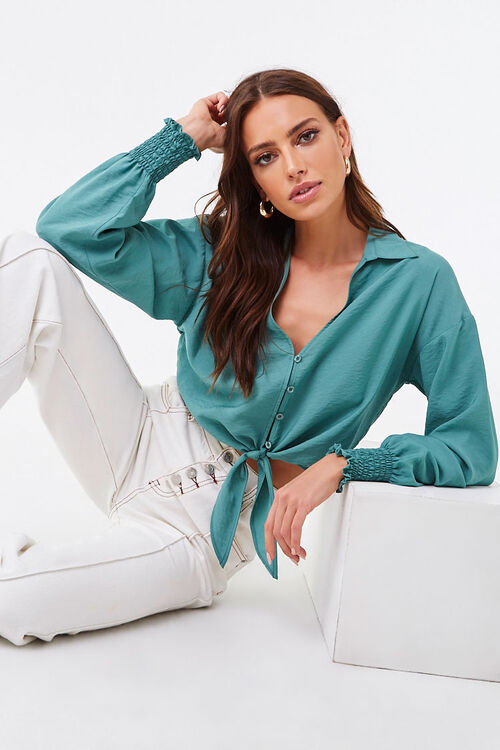 Smocked Self-Tie Buttoned Top, image 1