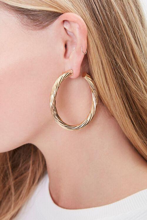 GOLD Textured Twisted Hoop Earrings, image 1