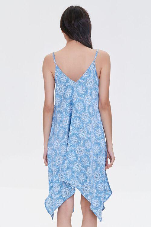 BLUE/CREAM Ornate Print Handkerchief Dress, image 3