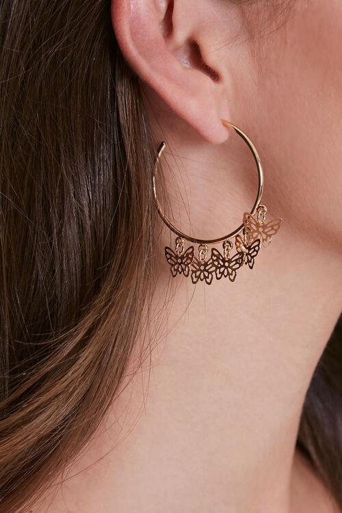 Butterfly Charm Hoop Earrings, image 1
