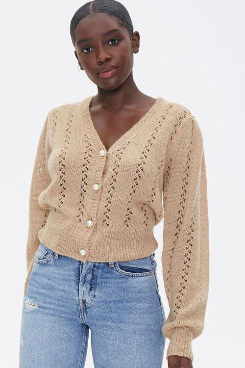 Faux Pearl Cardigan Sweater, image 1