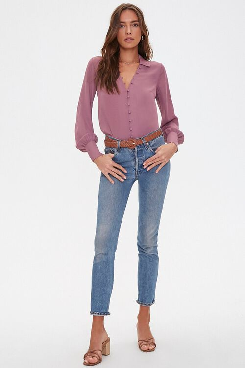 Button-Front High-Low Shirt, image 4
