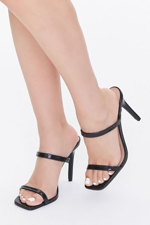 Faux Croc Slip-On Heels, image 1
