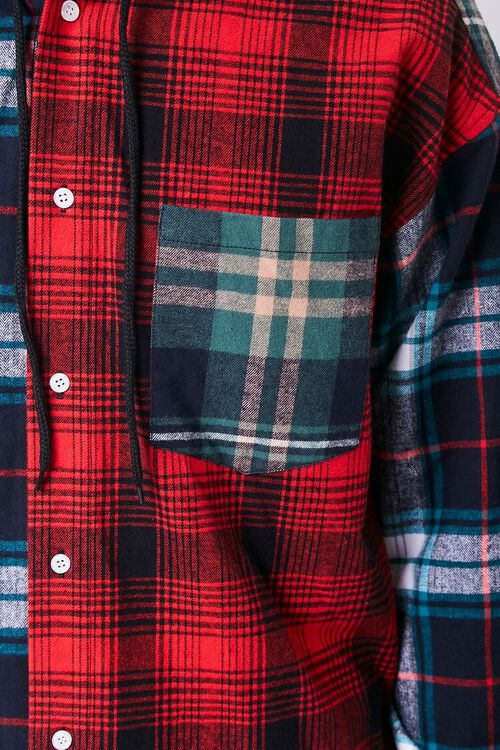 Colorblock Plaid Hooded Shirt, image 5