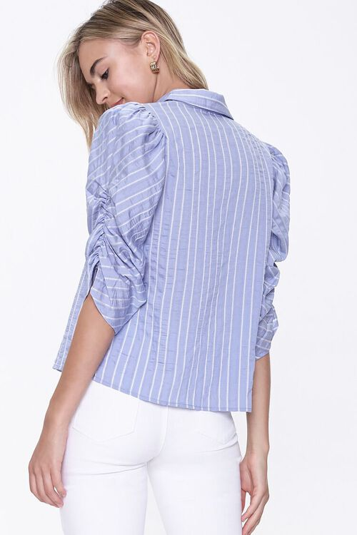 BLUE/WHITE Striped Ruched-Sleeve Shirt, image 3