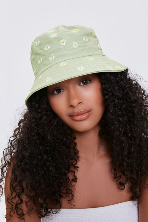 Embroidered Daisy Print Bucket Hat, image 4
