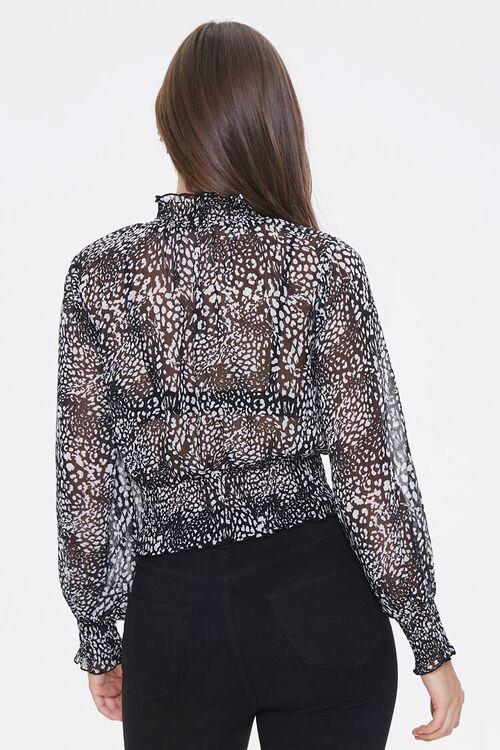 WHITE/BLACK Leopard Print Chiffon Top, image 3
