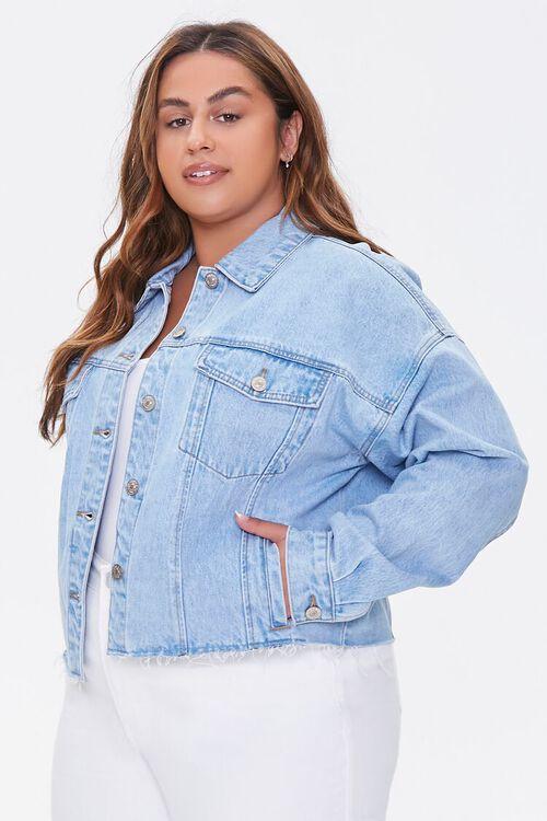 LIGHT DENIM Plus Size Cropped Denim Jacket, image 1