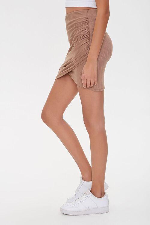 TAUPE Ruched Tulip-Hem Mini Skirt, image 3