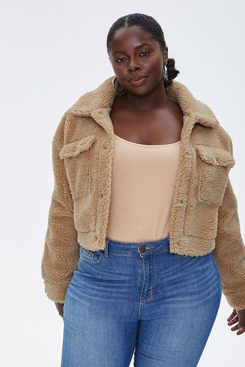 Plus Size Faux Shearling Jacket, image 1