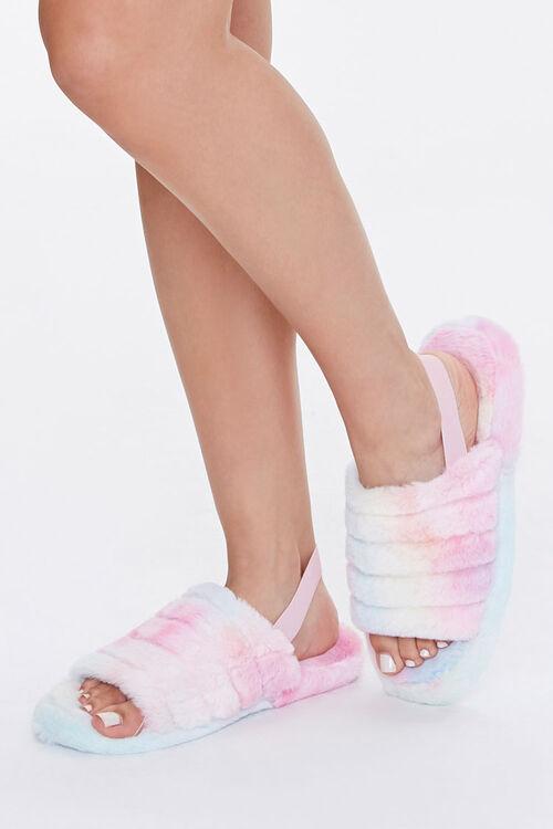 Faux Fur Open Toe Slippers, image 1