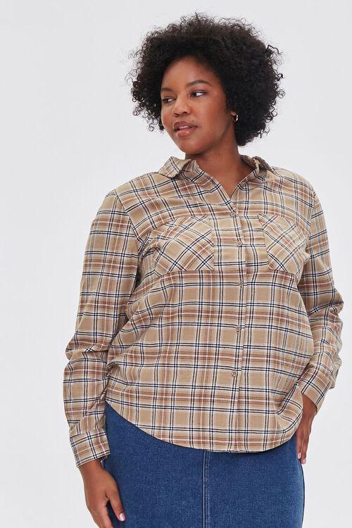 Plus Size Dual-Pocket Flannel Plaid Shirt, image 1