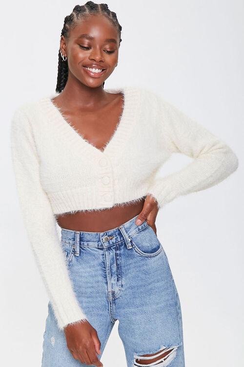 Fuzzy Cropped Cardigan Sweater, image 1