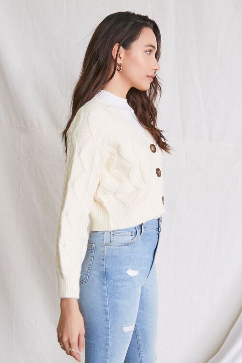 IVORY Cable Knit Cardigan Sweater, image 2