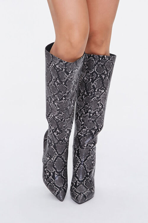 Faux Snakeskin Knee-High Boots, image 4
