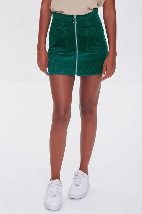 HUNTER GREEN Corduroy Zip-Front Mini Skirt, image 2